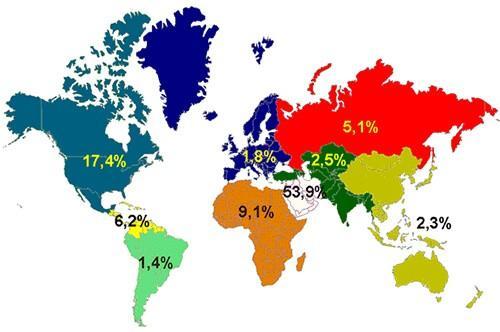 Распределение нефти по странам мира