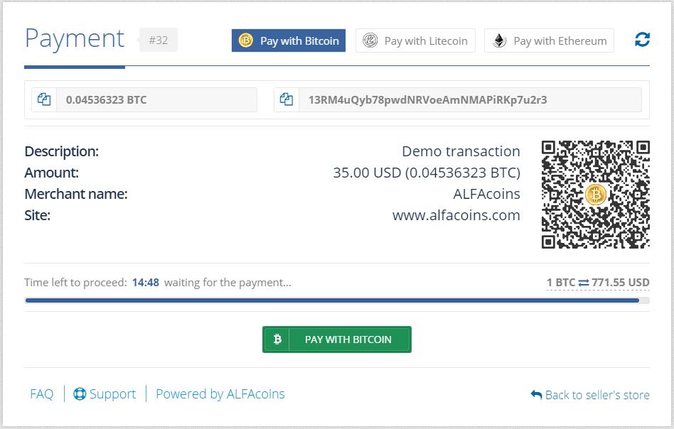 Окно для платежей удобное и информативное