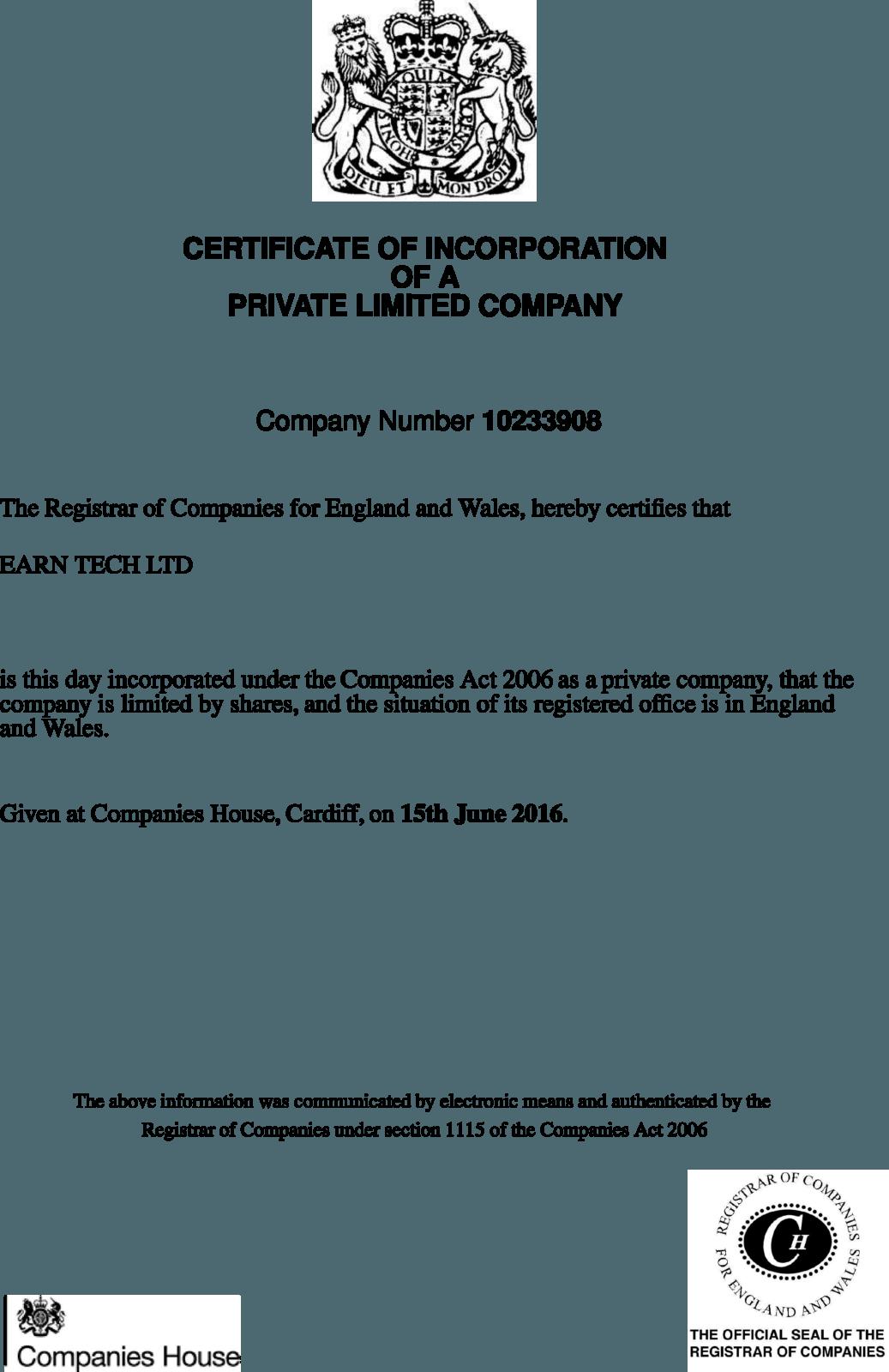 Свидетельство о регистрации Earn Tech