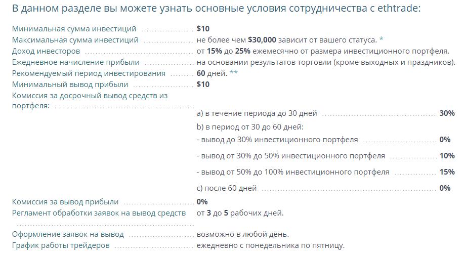 Инвестиционные условия в Ethtrade